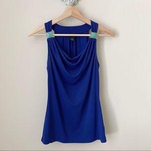 White House Black Market WHBM blue blouse